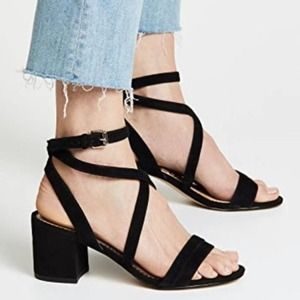 NEW SAM EDELMAN Sammy Black Block Heels Strappy